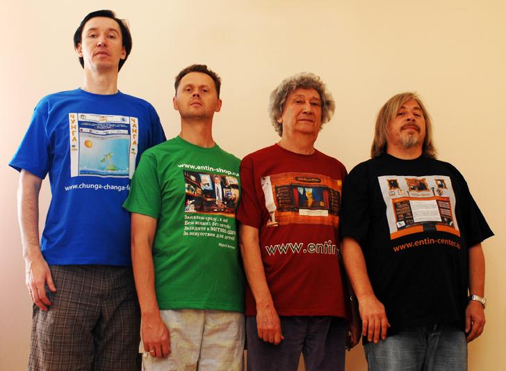 Команда Творческого центра Юрия Энтина, слева направо: Константин Мулин, Денис Денисов, Юрий Энтин, Леонид Воронцов